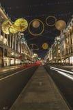 Decorazioni di Natale in via del reggente Londra Fotografia Stock