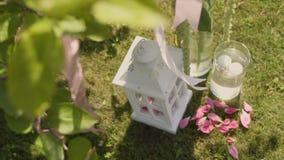 Decorazioni di nozze del giardino stock footage