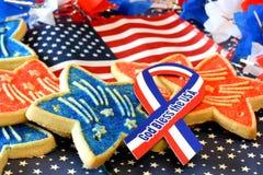 Decorazioni e biscotti del 4 luglio Immagini Stock