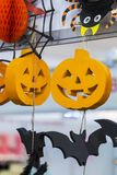 Decorazioni esteriori per la festa di Halloween Fotografie Stock