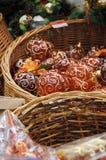 Decorazioni festive di natale da vetro Fotografie Stock