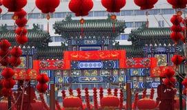 Decorazioni lunari cinesi di nuovo anno del cancello cinese Immagini Stock