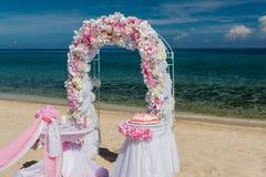 Decorazioni per le nozze sull'oceano Immagine Stock Libera da Diritti