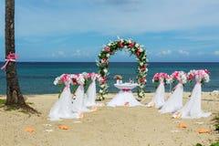 Decorazioni per le nozze sull'oceano Immagini Stock