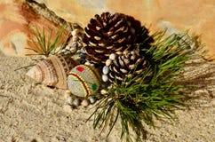 Decorazioni in rilievo africane di Natale della pigna sul Natale della spiaggia a luglio Immagini Stock