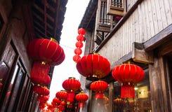 Decorazioni rosse cinesi festive della lanterna Fotografia Stock