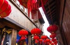 Decorazioni rosse cinesi festive della lanterna Immagini Stock Libere da Diritti