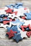 Decorazioni rosse della stella bianca e blu Fotografia Stock