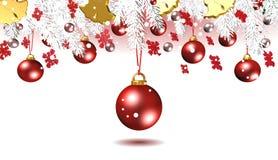 Decorazioni rosse di Natale, fondo, migliore illustrazione Fotografie Stock Libere da Diritti