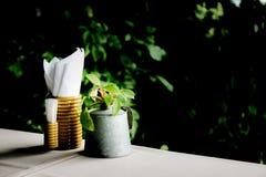 Decorazioni su un tavolo da pranzo fotografie stock