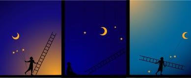 Decore o céu, trabalho no teatro, história da imagem, e, menino para fixar a estrela e a lua com escada, trabalho nos céus, sonho ilustração royalty free