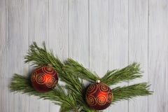 Decored jul förgrena sig på wood bakgrund Royaltyfri Bild