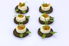 Decoreted cheese appetizers on rye bread Royalty Free Stock Images