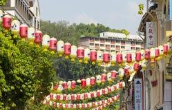 Decoretion灯笼在新加坡的唐人街遗产中心 免版税库存照片
