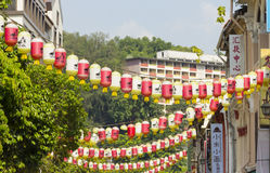 Decoretion lampion w Singapur Chinatown dziedzictwa centrum Zdjęcia Royalty Free