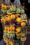 Decoretions coloridos do Xmas com os frutos secos a pendurar com laranjas, limões e cinnamoms Imagem de Stock