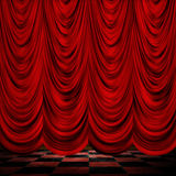 Decoretive red curtains with floor Royalty Free Stock Image