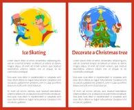 Decori l'albero di Natale ed il manifesto di pattinaggio su ghiaccio illustrazione vettoriale