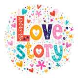 Decoros retros da rotulação da tipografia da história de amor das palavras Fotografia de Stock Royalty Free