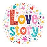 Decoros retros de las letras de la tipografía de la historia de amor de las palabras Fotografía de archivo libre de regalías