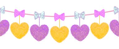 Decortive Elements With Pom-poms In The Shape Of A Heart And Bows Royalty Free Stock Images