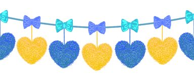 Decortive Elements With Pom-poms In The Shape Of A Heart And Bows Royalty Free Stock Image