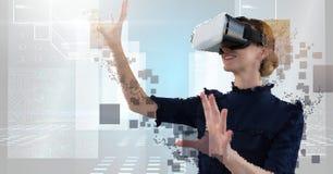 Decostruire la donna favolosa di realtà virtuale del pixel fotografia stock