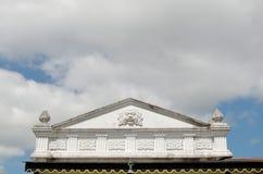 Decotation del ogro en la cima del edificio dentro del complejo del palacio del sultanato de Yogyakarta Foto de archivo