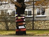 Decotation des Baums unter Verwendung des strickenden Bandes Stockfotografie