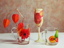 Decoupage art decorated cups and glass Royalty Free Stock Photography