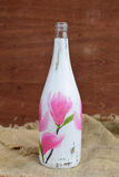 Decoupage. Bottle decorated in decoupage tecnique Royalty Free Stock Images