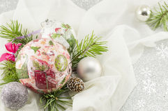 Decoupage Christmas ornament and fir tree Royalty Free Stock Image