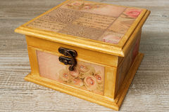 Decoupage decorated closed vintage jewelry box royalty free stock photos