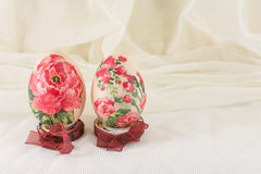 Decoupage decorated Easter eggs against silky background Stock Photography