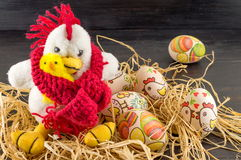 Decoupage decorated Easter eggs and chickens family Stock Image