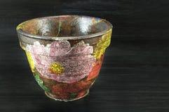 Decoupage dekorował kwiatu wzoru kwiatu garnek Obrazy Royalty Free