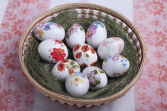Decoupage eggs Royalty Free Stock Photos