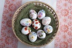 Decoupage eggs Royalty Free Stock Photo