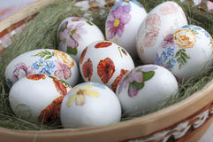 Decoupage eggs Stock Images