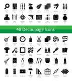 Decoupage hjälpmedel Bricolage & hemslöjdtillförsel Vektorlägenhet ic stock illustrationer