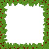 Decoupage Holly Frame. Illustration of decoupage style holly leaves framing a white copy space area on all sides Royalty Free Stock Image