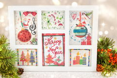 Decoupage New Year decorations made of paper. In a frame Stock Photography