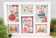 Decoupage New Year decorations made of paper. In a frame Royalty Free Stock Photography