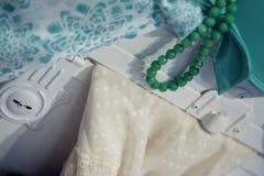 Decoupage oude materialen en parels Royalty-vrije Stock Foto