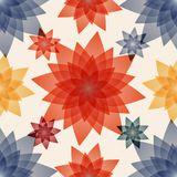 Decoupage with red, blue and yellow flowers. Decoupage with red, blue and yellow flowers vector illustration. Seamless pattern background Stock Images