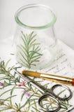 Decoupage vase with rosemary, brush and scissors Stock Photos