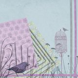 Decoupage Walking Paisley Bird. Abstract decoupage purple walking paisley bird Stock Images
