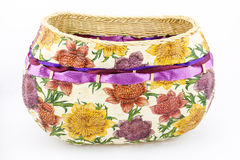 Decoupage wicker basket Royalty Free Stock Photography