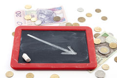 Decrease arrow down on blackboard. With polish money Royalty Free Stock Images
