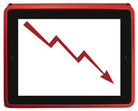 Decrease arrow in red tablet PC. Decrease tendency arrow shown on a red tablet pc on a white background Stock Images